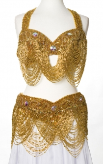 Belly dance bra and belt set - Waterfall of Gold