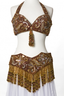 Belly dance bra and belt set - Golden Butterfly