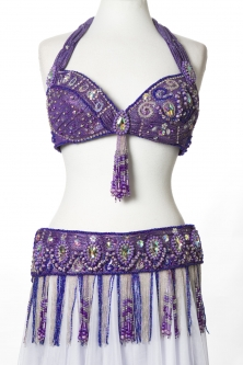 Belly dance bra and belt set - Lilac Star