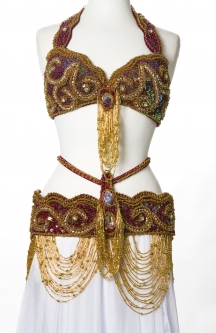 Belly dance bra and belt set - Peacock Spectrum in 2 sizes