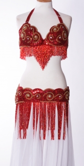 Belly dance bra and belt set - Right Royal Razzamataz