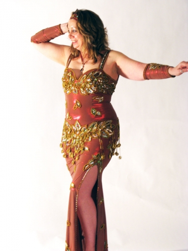 Belly dance cabaret dress - Bronze scarlet sheen/gold/silver
