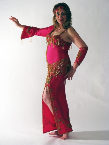Belly dance cabaret dress - Hot neon pink