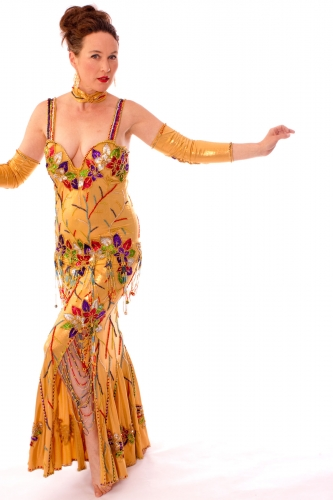 Belly dance cabaret dress - Liquid Honey
