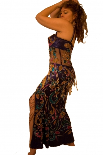 Belly dance cabaret dress Metallic midnight blue