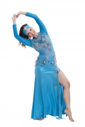 Belly dance cabaret dress - Ocean Storm
