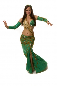Belly dance cabaret costume - Emerald
