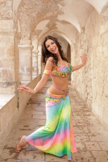 Belly dance cabaret costume - Rainbow Princess