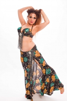 Belly dance cabaret costume - Midnight Rose