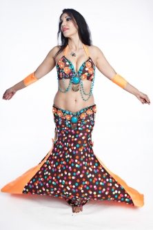 Belly dance cabaret costume - Polka Party!
