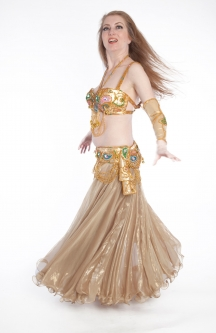 Belly dance cabaret costume - Liquid Gold