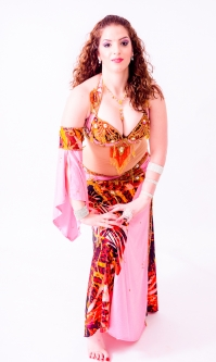 Belly dance cabaret costume - Rose-tinted Fire