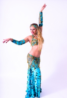 Belly dance cabaret costume - Wild Marine Rose