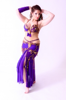 Belly dance cabaret costume - Purple Princesa