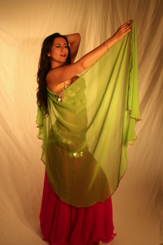Belly dance chiffon veil with beaded edging