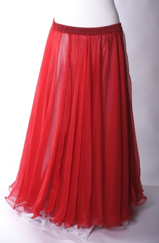 Belly dance chiffon circular skirt - true red