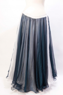 Belly dance chiffon circular skirt - navy blue over white