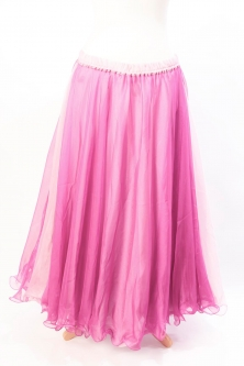 Belly dance chiffon circular skirt - two tone pink