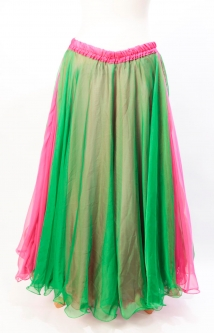 Belly dance chiffon circular skirt - green over pink