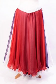 Belly dance chiffon circular skirt - purple, white & red