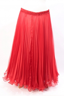 Pleated belly dance chiffon skirt - red