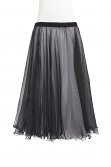 Belly dance chiffon circular skirt - black over white
