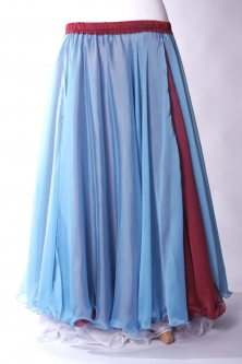 Belly dance chiffon circular skirt - blue over red