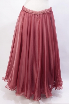 Belly dance chiffon circular skirt - dusty red/pink