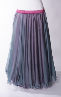 Belly dance chiffon circular skirt - frost grey over pink