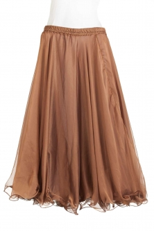 Belly dance chiffon circular skirt - milk chocolate brown