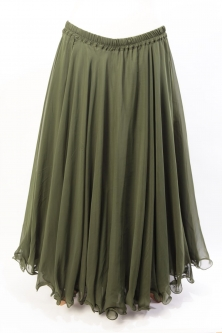 Belly dance chiffon circular skirt - olive