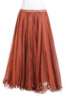 Belly dance chiffon circular skirt - rustic red