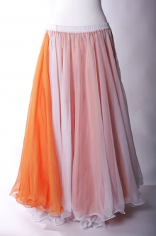 Belly dance chiffon circular skirt - white over orange