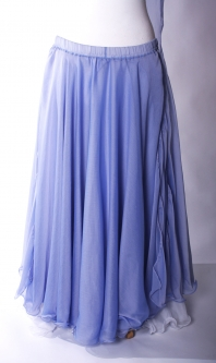 Belly dance chiffon circular skirt and veil - powder blue
