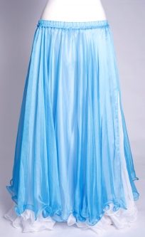 Belly dance chiffon skirt - turquoise over white