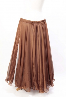 Belly dance chiffon circular skirt - milk chocolate with split