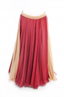 Belly dance chiffon circular skirt - red over gold