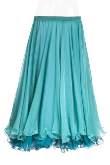 Belly dance chiffon skirt - teal two-tone