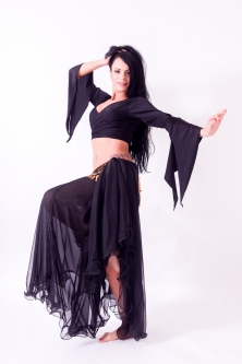 Belly dance chiffon circular skirt - black