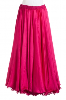 Dark pink silk belly dance skirt