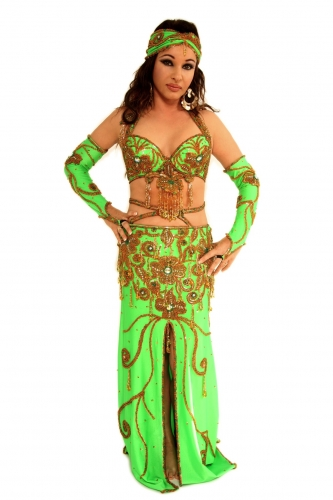 Belly dance costume - Exotic Lime