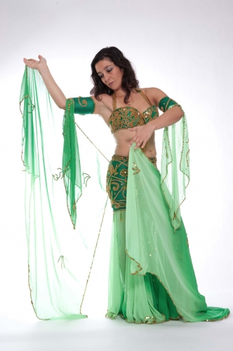 Belly dance costume - Emerald Gold