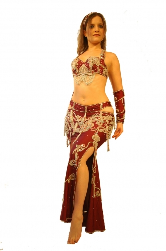 Belly dance costume - Plum and Silver
