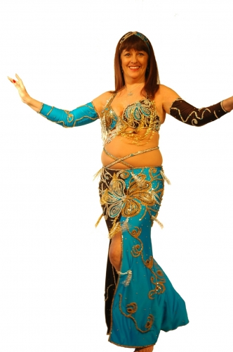Belly dance costume - Turquoise and Black