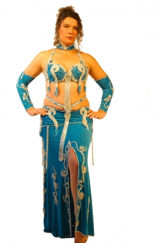 Belly dance costume - Silver Waterfall