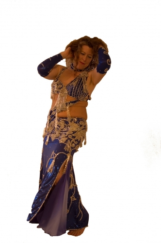 Belly dance costume - Royal Blue Metallica