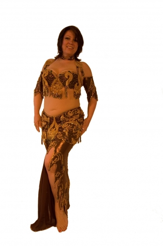 Belly dance costume - Bronze and Gold