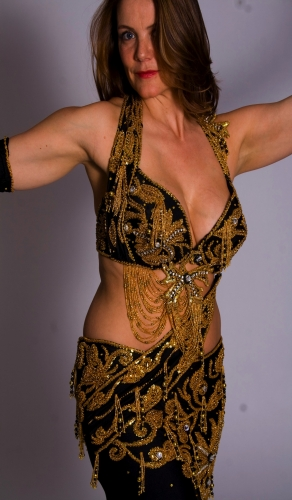 Belly dance costume Black with Gold detail and Silver diamante