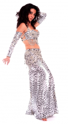 Belly dance costume - White Black Speckled Print