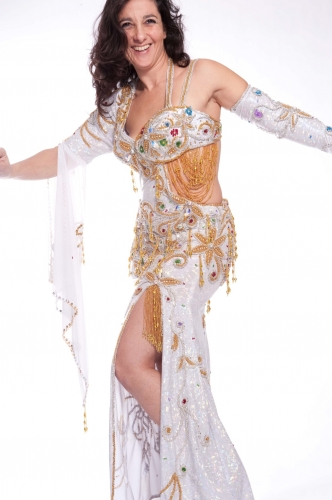 Belly dance cabaret costume - White Dress Galore